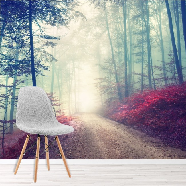 Magical red road wall mural misty forest tree wallpaper for Red wallpaper designs for living room