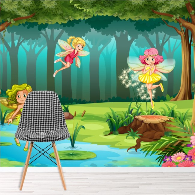 Forest fairy wall mural fairytale fantasy wallpaper for Fairy wall mural