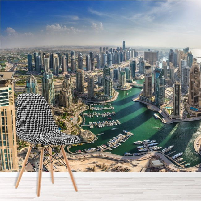 Dubai cityscape wall mural city skyline wallpaper office for Cityscape mural