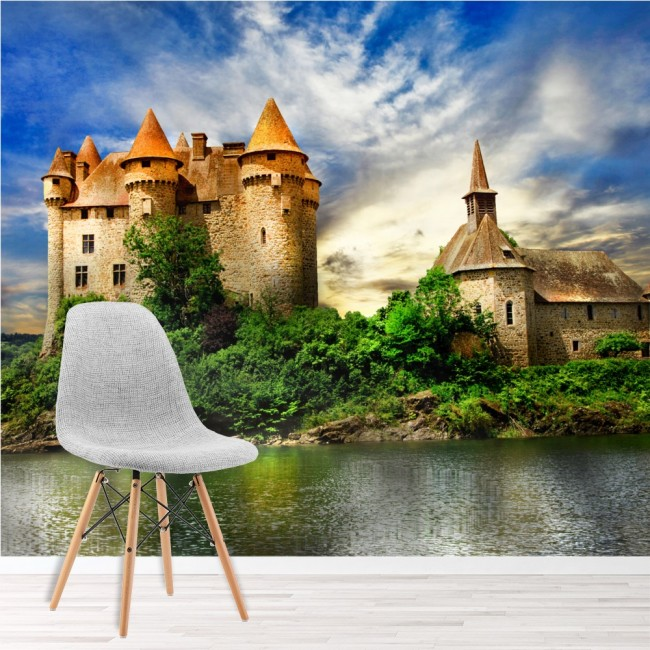 French castle wall mural chateau de val wallpaper bedroom for Castle mural wallpaper