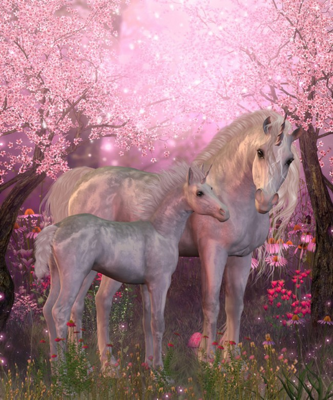 Fairytale Unicorn Wall Mural Pink Cherry Blossom Wallpaper Girls