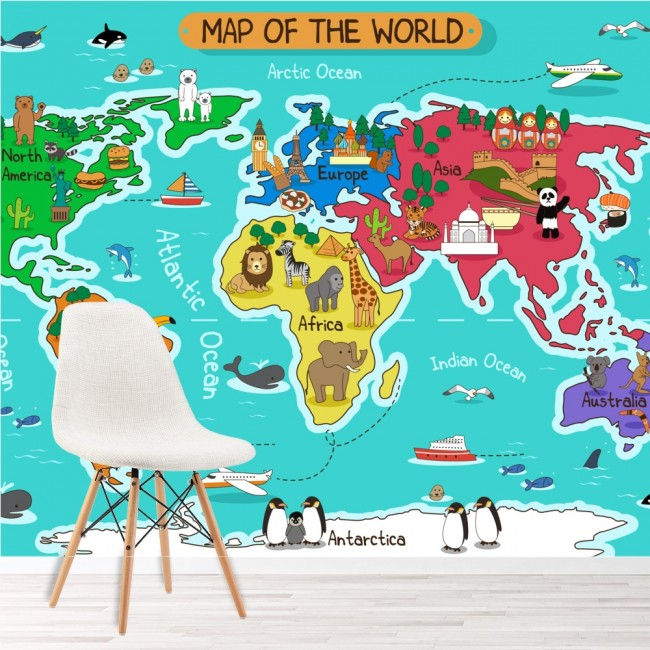 Cartoon Animal World Map Wall Mural Map Wallpaper Kids Bedroom Photo