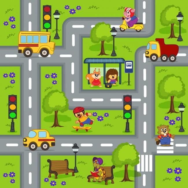 Fun Road Map Wall Mural Cars Animals Wallpaper kids Nursery Playroom