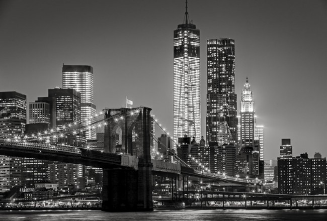 Brooklyn Bridge Wall Mural City Skyline Wallpaper Black White