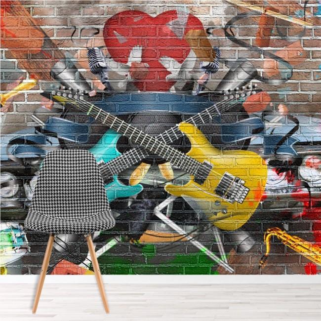 Guitar Music Wall Mural Graffiti Wallpaper Kids Bedroom Photo Home