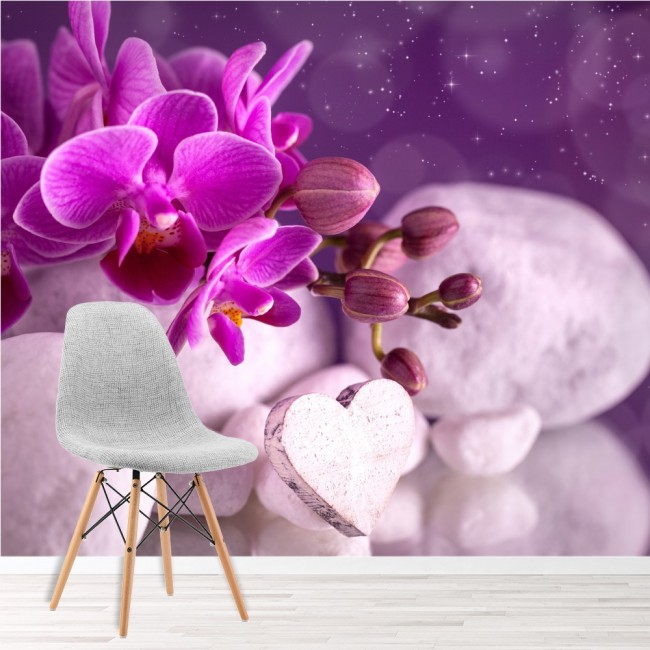 Purple Orchid Flower Wall Mural Floral Wallpaper Girls Bedroom Photo