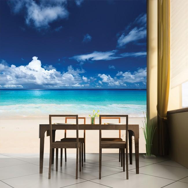 White Sand Beach Wall Mural Blue Sea Wallpaper Ocean Seascape Photo