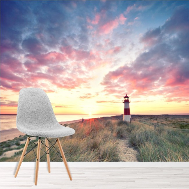 Lighthouse sunrise wall mural beach wallpaper living room for Beach mural bedroom