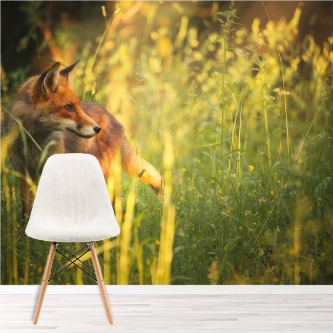 Red Fox Wall Mural Green Grass Nature Wallpaper Bedroom Photo Home Decor
