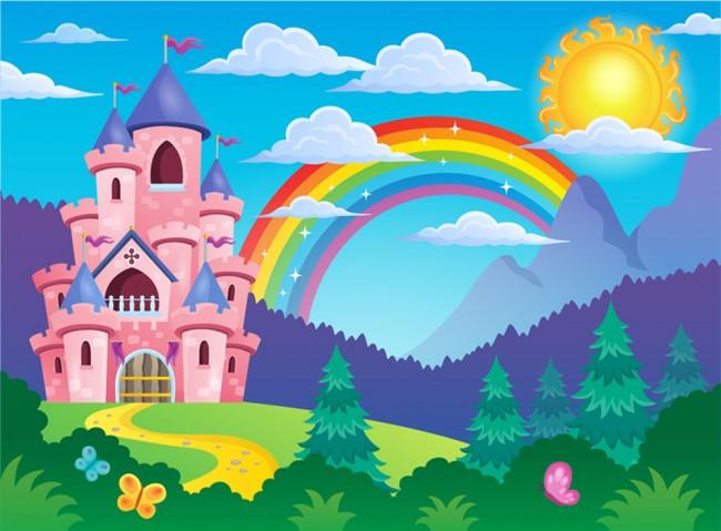 Princess Rainbow Wallpaper Wall Mural