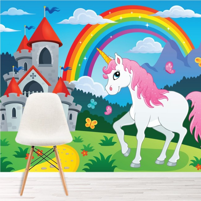 Unicorn Wall Mural Rainbow Fairytale Wallpaper Girls Nursery Photo
