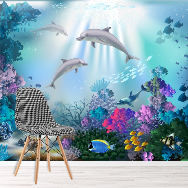 Dolphin wall mural under the sea wallpaper girls bedroom for Girls murals