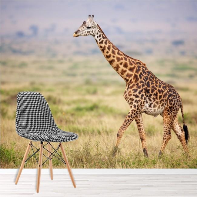 Giraffe Wall Mural Safari Animal Landscape Wallpaper Kids Room Photo Home  Decor