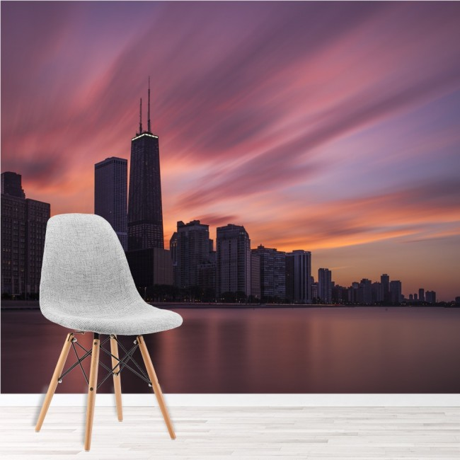 Purple Sunset Wall Mural Chicago City Skyline Wallpaper Bedroom Photo Home  Decor Part 47