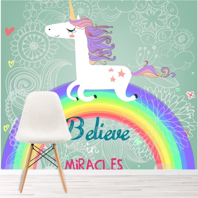 Unicorn Wall Mural Believe In Miracles Wallpaper Girls Room Nursery