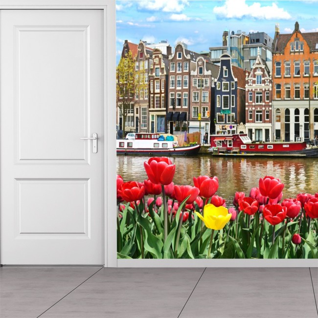 Red flowers wall mural amsterdam city wallpaper bedroom for City wall mural wallpaper