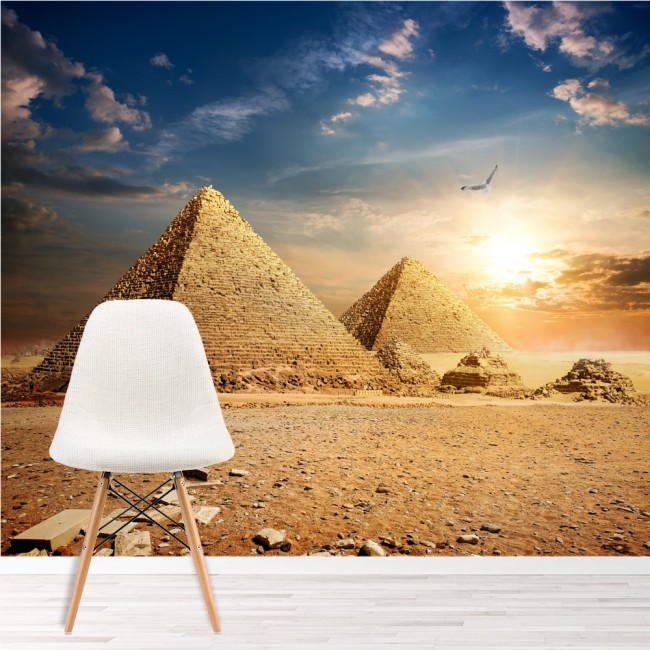 Egyptian pyramids wall mural landmarks wallpaper bedroom for Egyptian mural wallpaper