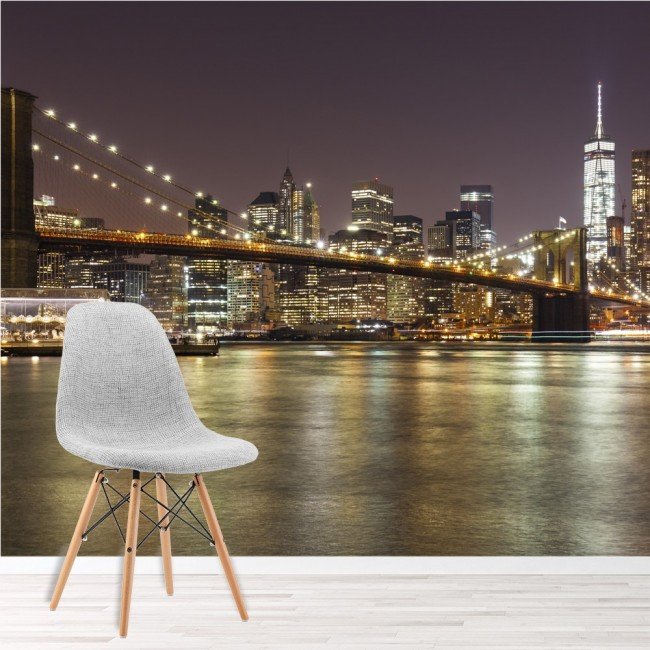 New york city wall mural brooklyn bridge wallpaper for Brooklyn bridge mural wallpaper