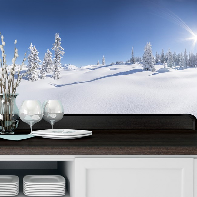 White winter foreset wall mural panoramic wallpaper for Winter wall murals
