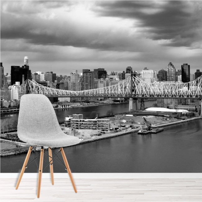 New york city panoramic wall mural black white wallpaper for Black wall mural