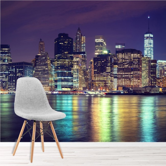 manhattan night wall mural city skyline new york wallpaper bedroom