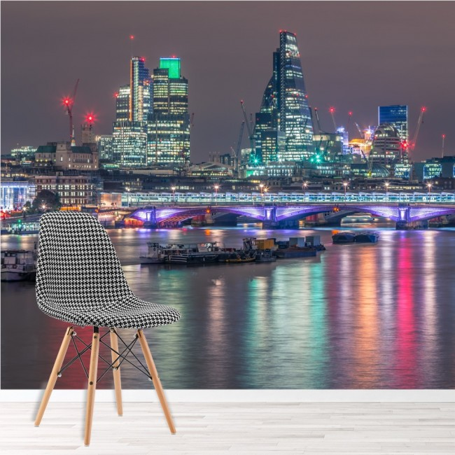 London UK City Wall Mural Night Skyline Wallpaper Cityscape Photo Home Decor Part 57