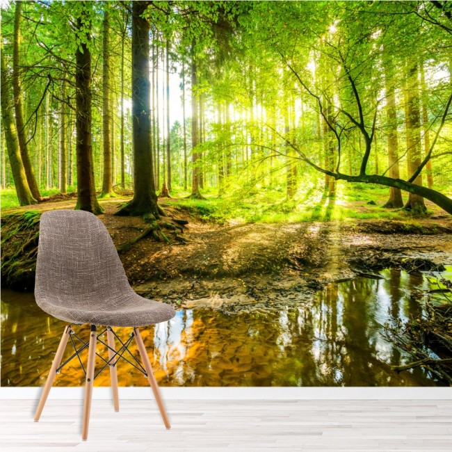 Green Tree Wall Mural Forest Landscape Wallpaper Living Room Bedroom ...