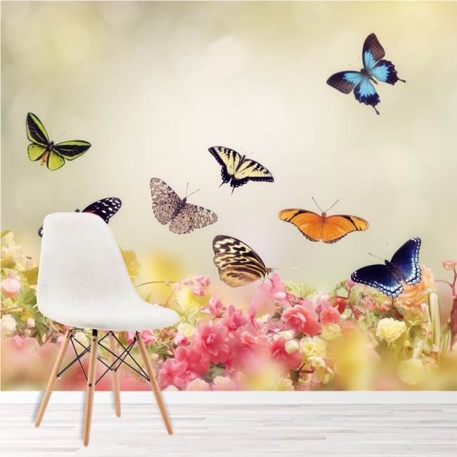 Floral butterfly wall mural pink flower wallpaper girls for Butterfly wall mural