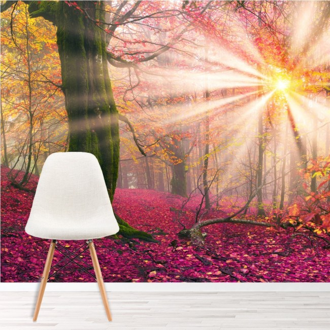 Enchanted forest wall mural pink trees wallpaper girls for Girls murals