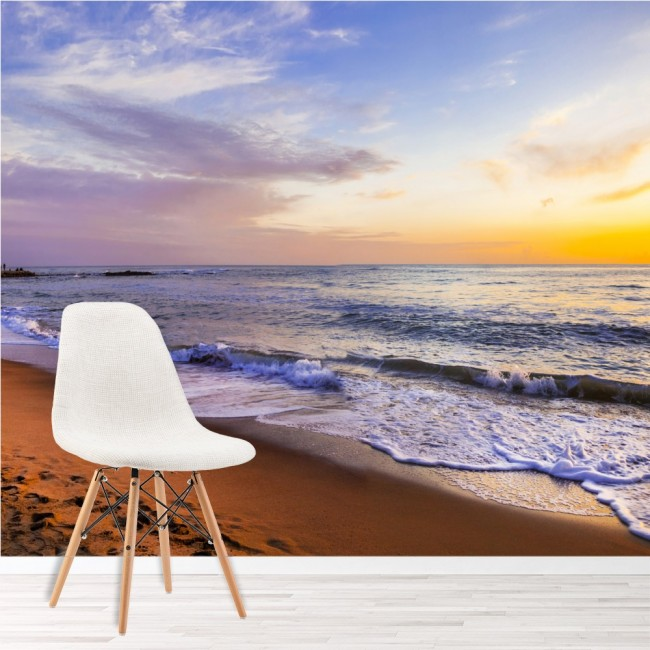 Sunset beach panoramic wall mural castle italy wallpaper for Beach mural bedroom