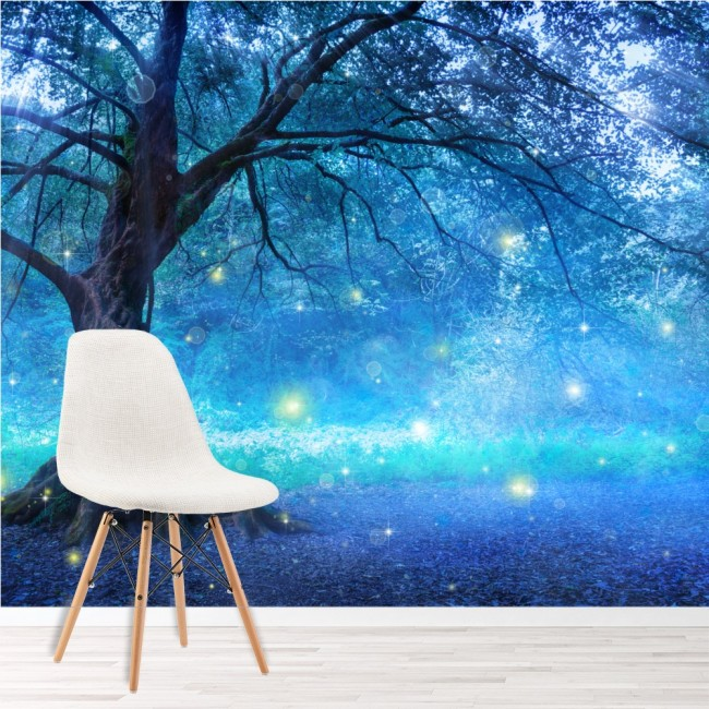 Blue Fairy Tree Wallpaper Wall Mural