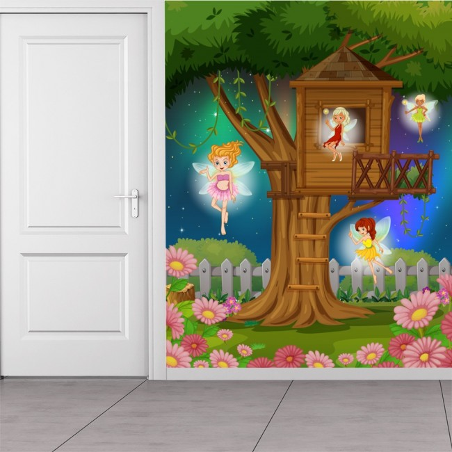 Fairy tree wall mural fantasy wallpaper girls bedroom for Girls murals