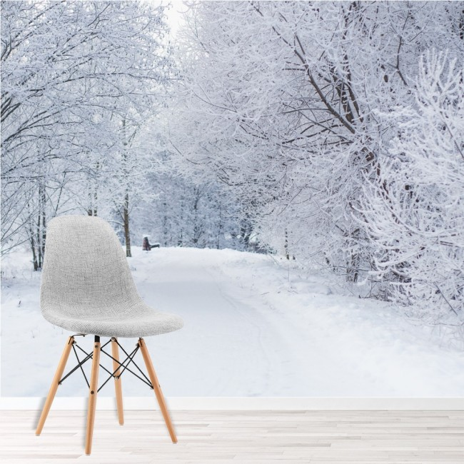 Snowy trees wall mural white winter landscape wallpaper for Winter wall murals