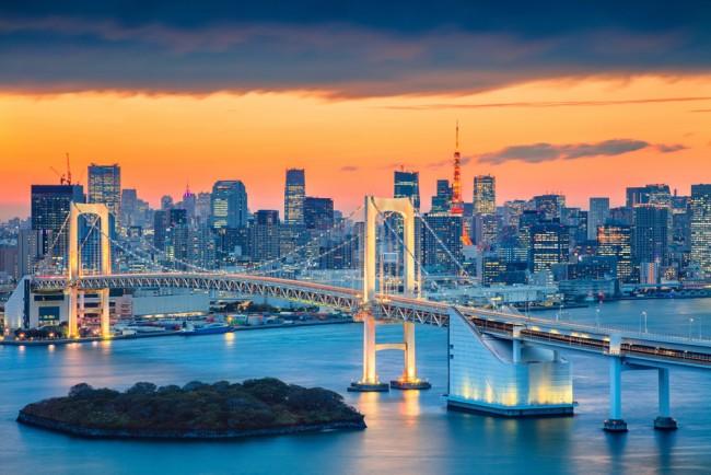 Tokyo City Rainbow Bridge Wallpaper Wall Mural
