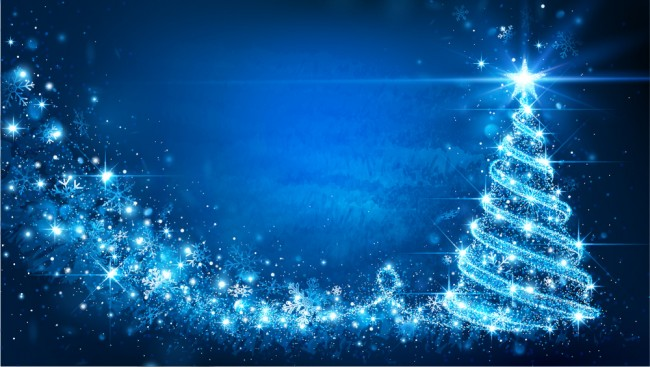 Blue Christmas Tree Wallpaper Wall Mural