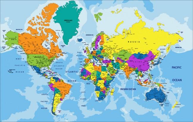Colourful World Map Political Education Wallpaper Wall Mural