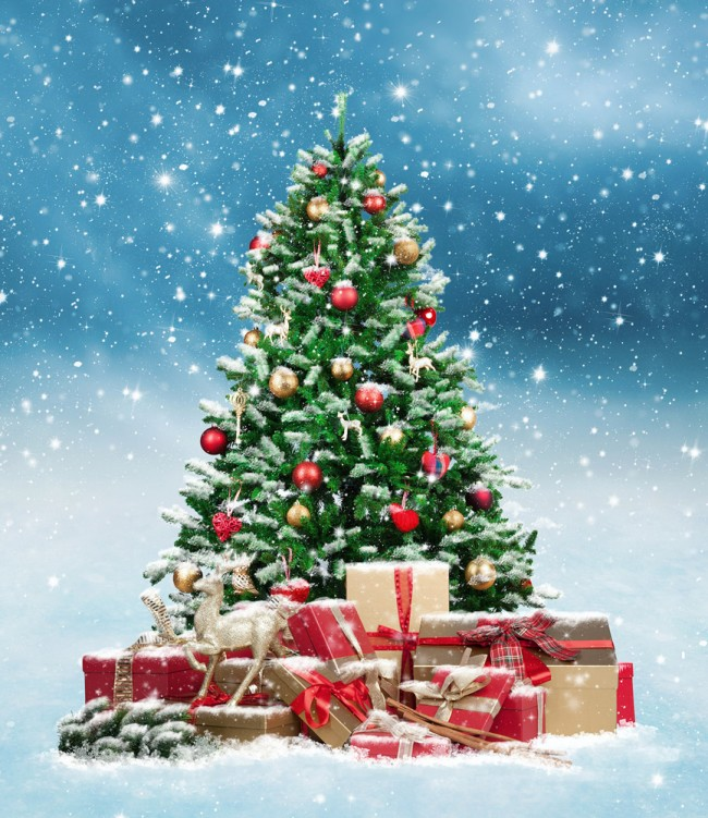 Picture Of Christmas Tree With Presents: Christmas Tree & Presents Wallpaper Wall Mural