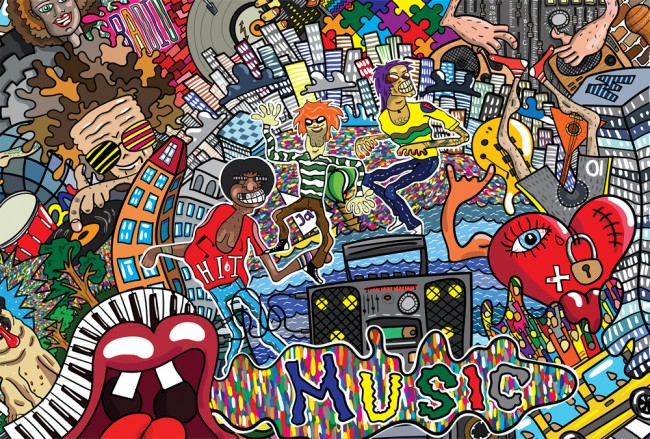Music Graffiti Art Wallpaper Wall Mural