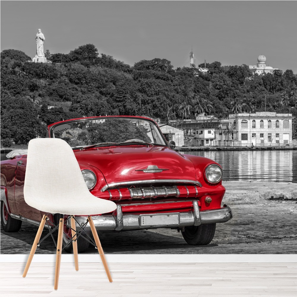 vintage red car wall mural black white wallpaper cuba photo home decor