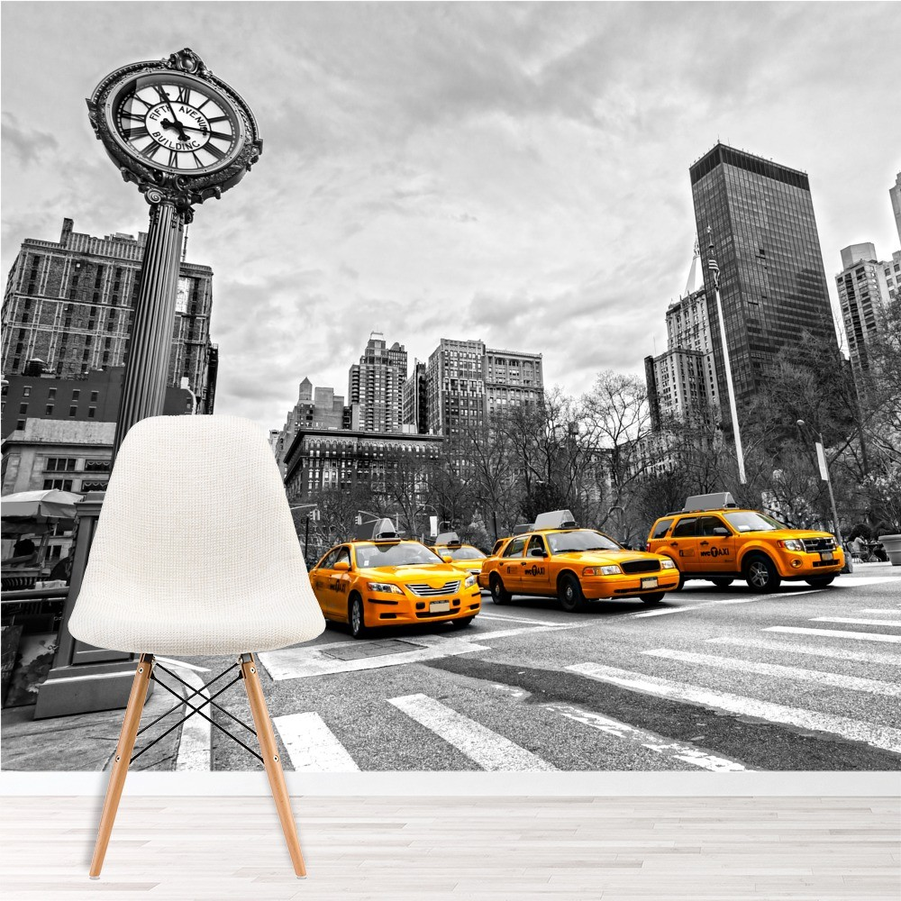 New york yellow taxi wall mural black white wallpaper for Home decor new york