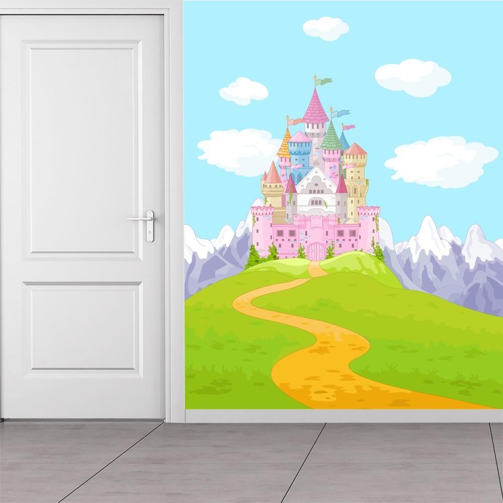 Pink Princess Castle Wall Mural Fairytale Fantasy Wallpaper Girls Photo Decor
