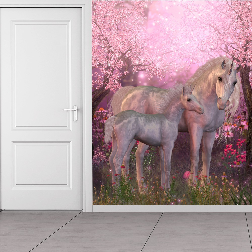 Cherry Blossom Unicorn Wallpaper Wall Mural