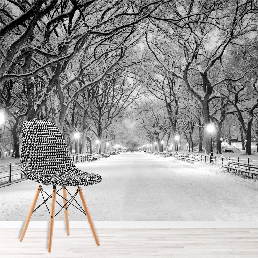 Central park new york wall mural black white wallpaper for Winter wall murals