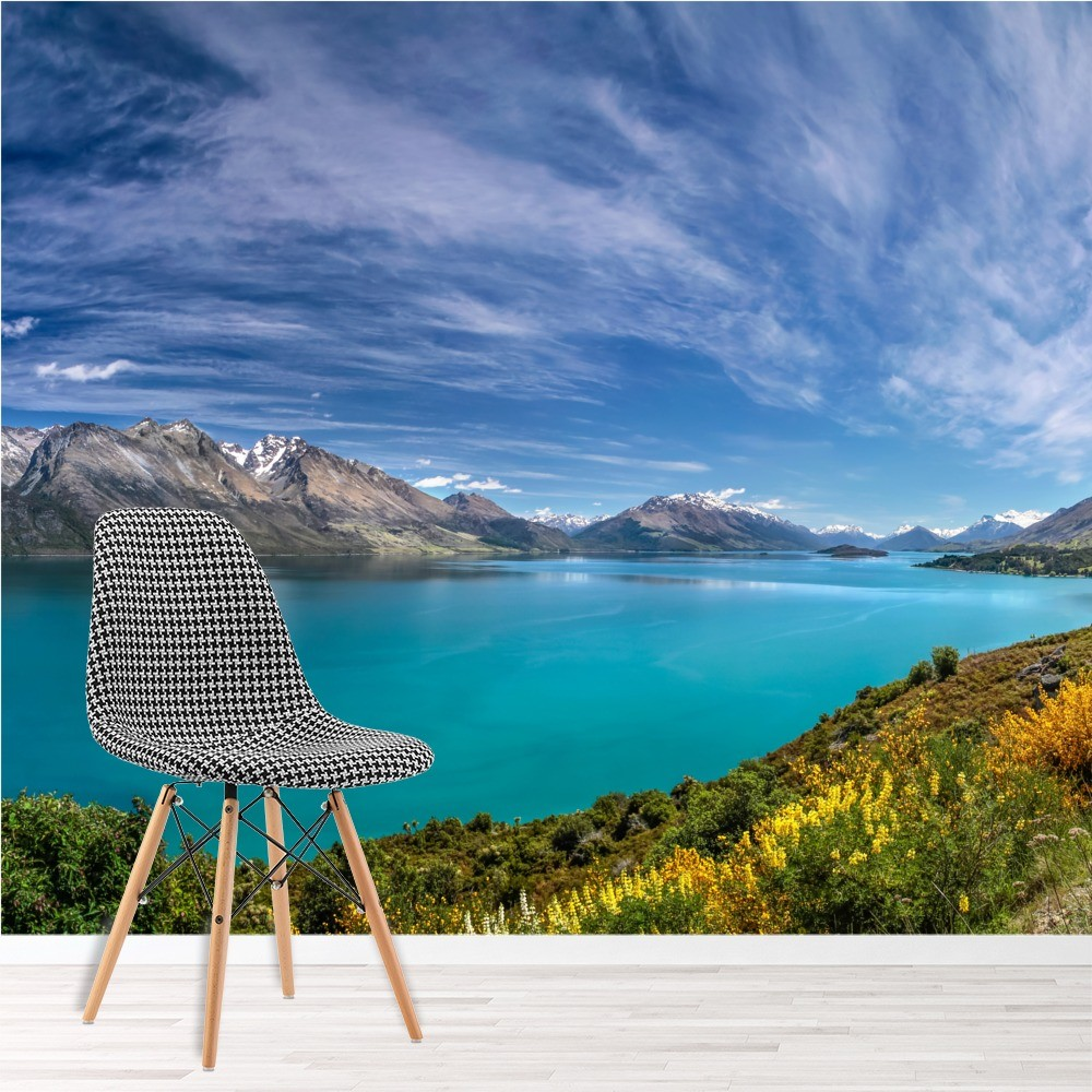 blue lake wall mural new zealand wallpaper living room