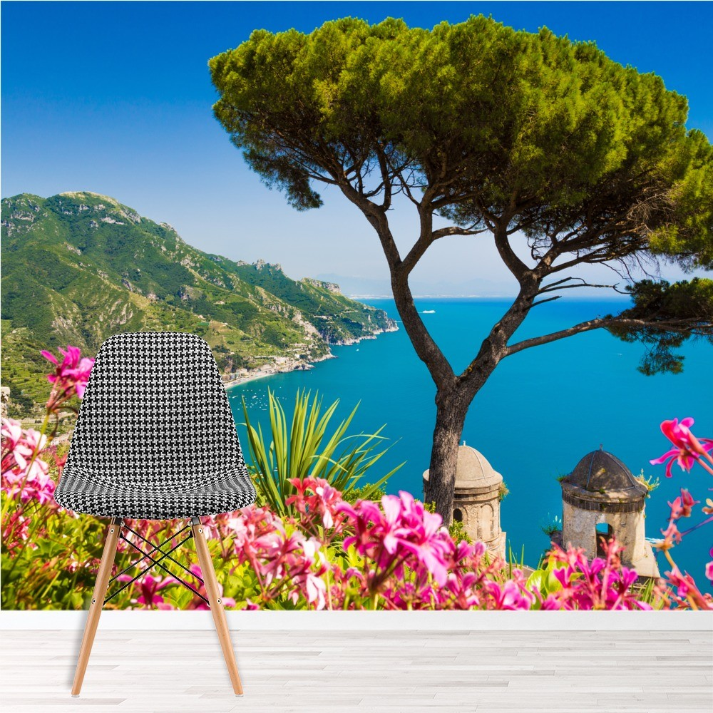Amalfi Coast Italy Wall Mural Pink Flowers Wallpaper