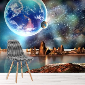 alien landscape wall mural planets space wallpaper boys room photo home decor