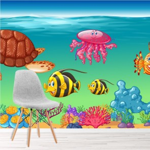 Sea Animals Wall Mural Under The Sea Wallpaper Kids Bedroom Photo Home Decor
