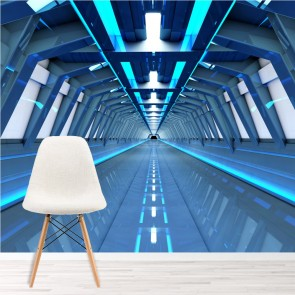 Space Station Wall Mural Blue Tunnel 3D Wallpaper Kids Bedroom Photo Home  Decor Part 73