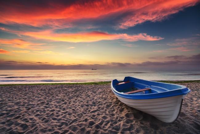 Ozean Sonnenuntergang Fototapete roter Himmel Tapete Schlafzimmer  Wohnzimmer Foto Inneneinrichtungen