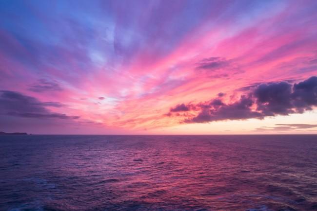 Lila Himmel Fototapete Ozean Sonnenuntergang Tapete Wohnzimmer ...